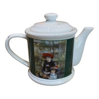 """Vintage 1990s Renoir Art """"Two Sisters"""" Tea Pot For Sale"""