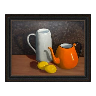Vintage Original Art Oil Still Life Framed Oil Painting & Custom Wood Frame For Sale