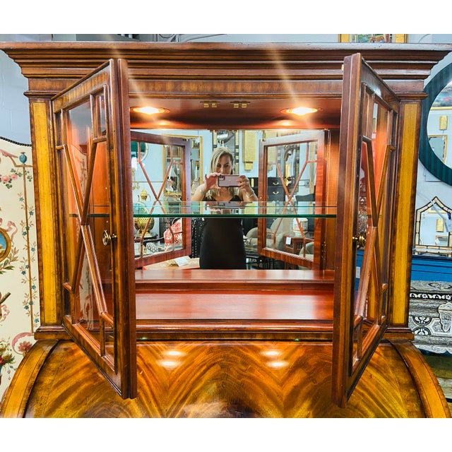 Vintage Regency Maitland Smith Flame Mahogany Burl Two Part Secretary Desk For Sale - Image 11 of 13