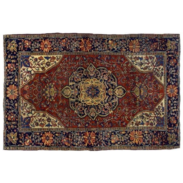 "1880s Handmade Antique Persian Sarouk Farahan Rug - 4'2"" X 6'3"" For Sale - Image 5 of 6"