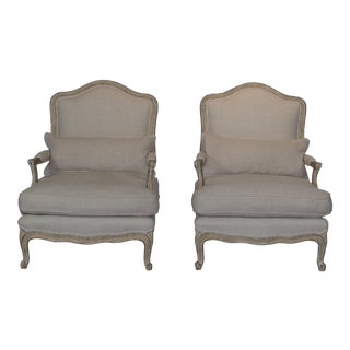 1950s Country Linen Bergere Chairs - a Pair