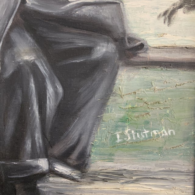 1970s Vintage Gentleman Napping on Bench Painting For Sale - Image 4 of 6
