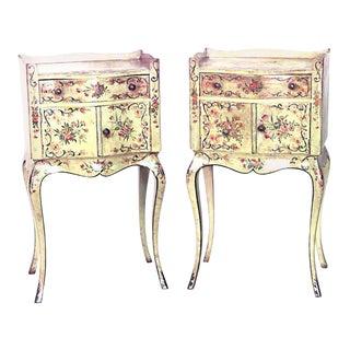 Italian Venetian Floral Bedside Tables For Sale