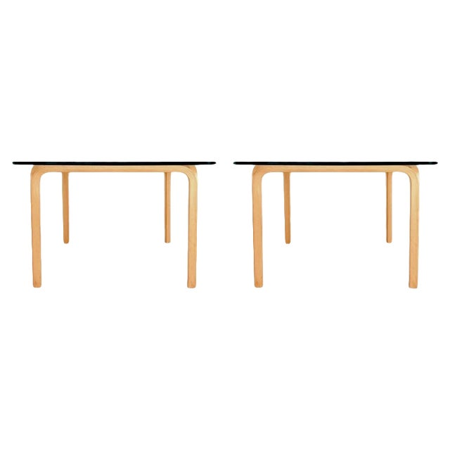 Alvar Aalto Artek Glass & Bentwood Birch Coffee or Cocktail Tables - a Pair For Sale