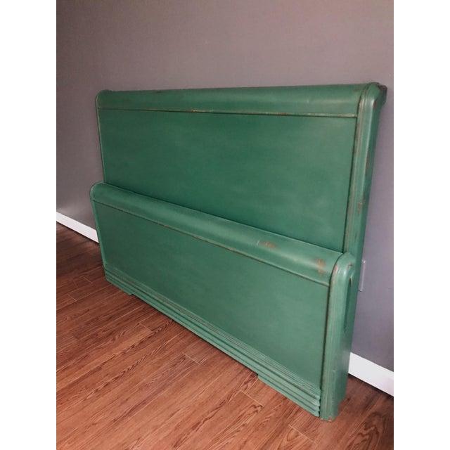 Green Dixie Furniture Art Deco Waterfall Full Headboard & Footboard For Sale - Image 8 of 12
