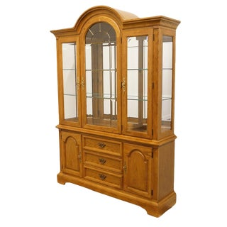 "20th Century French Country Stanley Furniture 60"" Lighted Display China Cabinet For Sale"