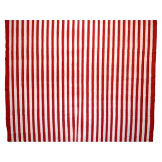 Indian 100% Cotton Handloom Red & White Striped Fabric - 4 Yards For Sale