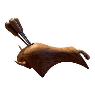 Vintage Oliv-Art Wooden Bull With 6 Orb Ball Appetizer Olive Skewers Fork Picks - 6 Pieces For Sale