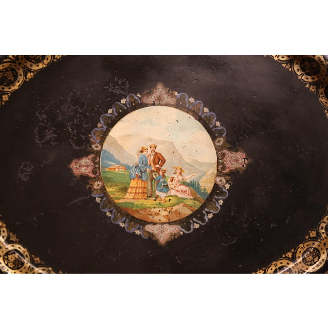 19th Century French Napoleon III Hand-Painted Oval Tole Tray With Family Scene For Sale - Image 4 of 6