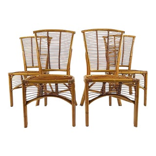 Rattan Side Chairs, S/4