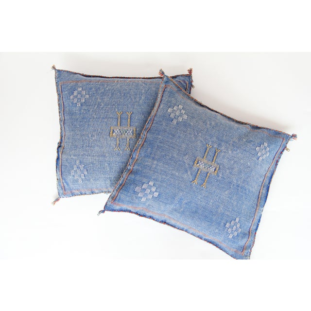 Blue & Yellow Moroccan Cactus Pillows - A Pair - Image 2 of 7