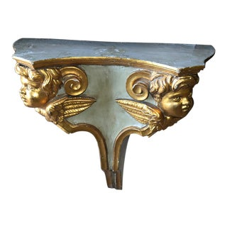 Antique Venetian Architectural Painted and Gilded Putti Wall Shelf Console For Sale