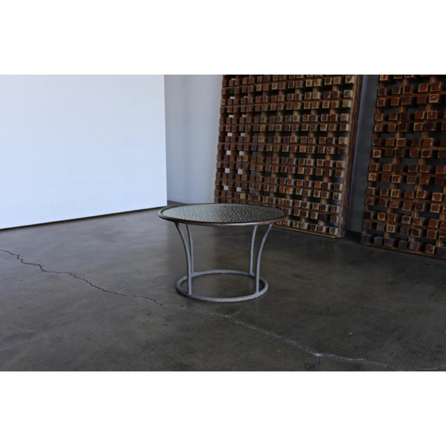 White Bronze and Pebble Glass Side Table by Kipp Stewart for Terra Circa 1965 For Sale - Image 8 of 9