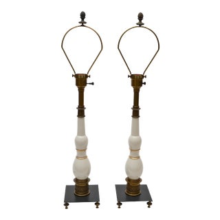 Pair of Stiffel Porcelain and Bronze Table Lamps For Sale