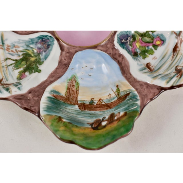 French Porcelain Hand-Painted Fishing Scene Oyster Plate For Sale - Image 9 of 13