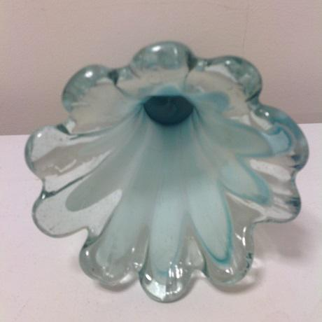 Boho Chic Vintage Murano Blue Swirl Art Glass Vase For Sale - Image 3 of 5