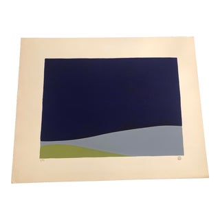 Blue, Grey/Blue & Green Colored Minimalist Hand-Painted Serigraph 5/33 by Geoffrey Graham For Sale