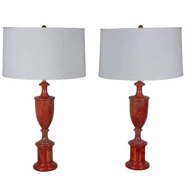 Pair of Red Alabaster Lamps For Sale In New York - Image 6 of 6