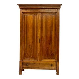 1840s Antique French Louis Philippe Walnut Armoire For Sale