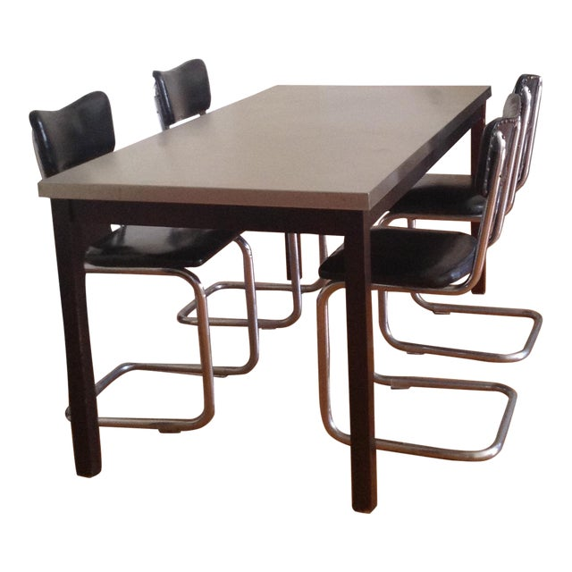 ZGallerie Metal Top Dining Table & Cantilever Chairs Dining Set - Image 1 of 8
