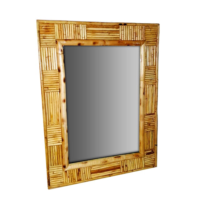Vintage Pencil Reed Rattan Mosaic Patchwork Patterned Framed Wall Mirror For Sale - Image 4 of 7