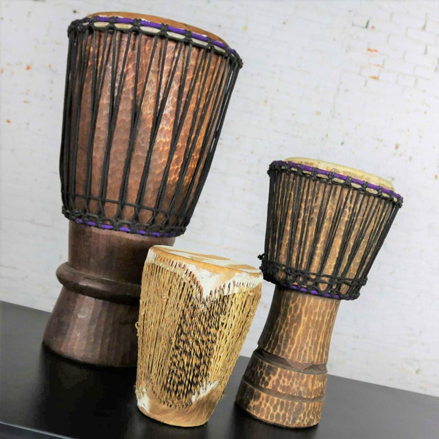 Mid 20th Century Trio of Tribal Drums Carved Wood and Animal Hide For Sale - Image 5 of 13