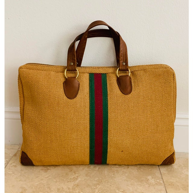 Metal Vintage Italian Style Travel Set of 3 Luggage Jute and Leather, the 3 Pieces For Sale - Image 7 of 13