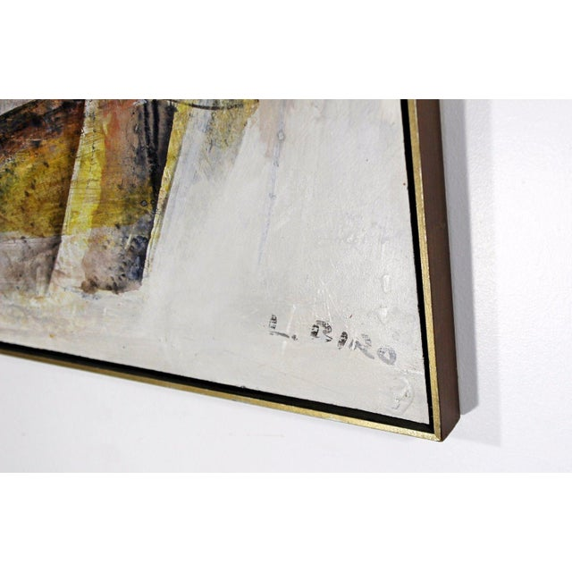 Mid Century Modern Framed Mixed Media Acrylic Abstract Painting by Ljubo Biro For Sale - Image 10 of 11