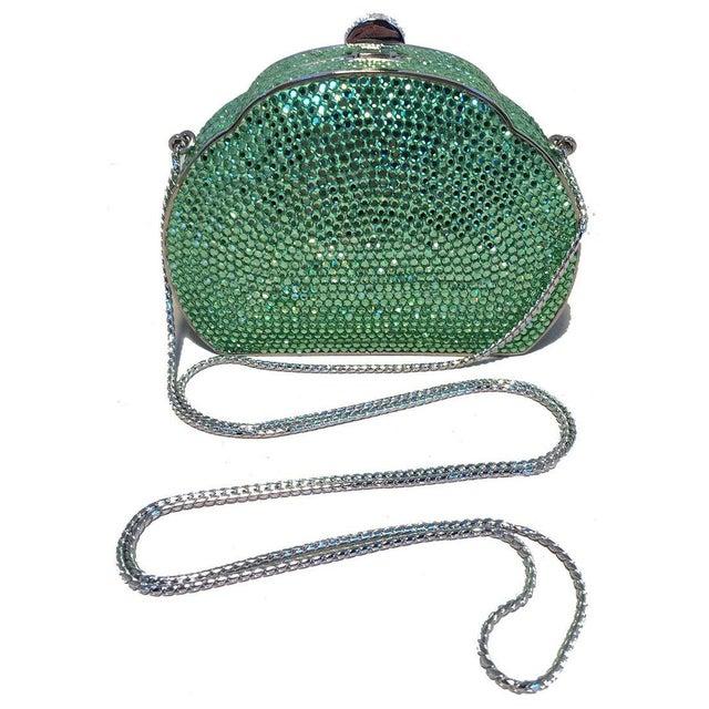1980s Judith Leiber Green Swarovski Crystal Minaudiere Evening Bag For Sale - Image 5 of 9