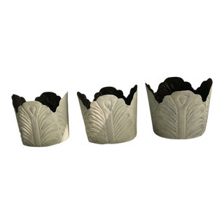 Painted Tole Cabbage Cachepot - Set of 3 For Sale