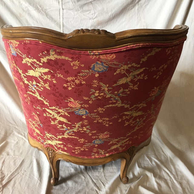 French Lillian August for Drexel Red Bergere Chair For Sale - Image 3 of 9