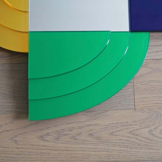 Ettore Sottsass 2007 Sottsass Postmodernism Mirror in Green Blue Yellow Pink for Glas Italia For Sale - Image 4 of 12