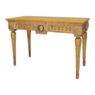 A Finely Painted 18th Century Italian Neoclassic Parcel Gilt Console Table For Sale