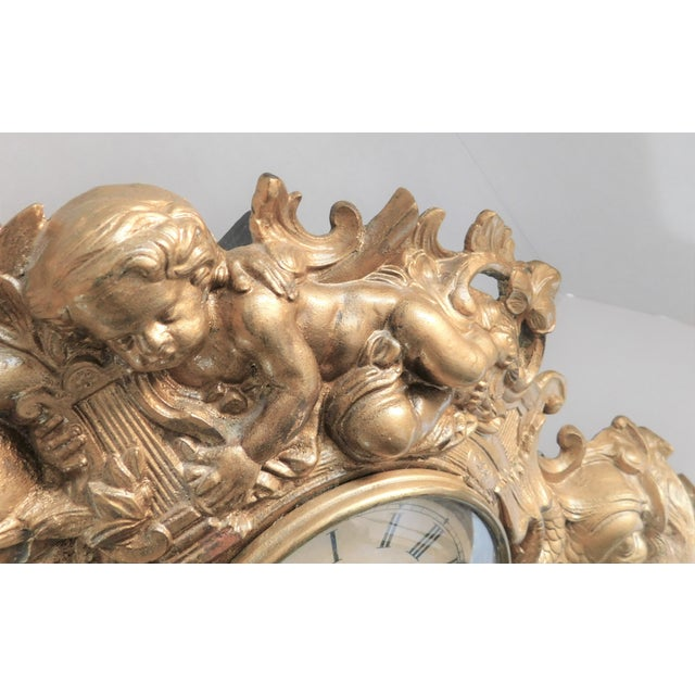 Metal Victorian Gilt Metal Table Clock C. 1870 For Sale - Image 7 of 13