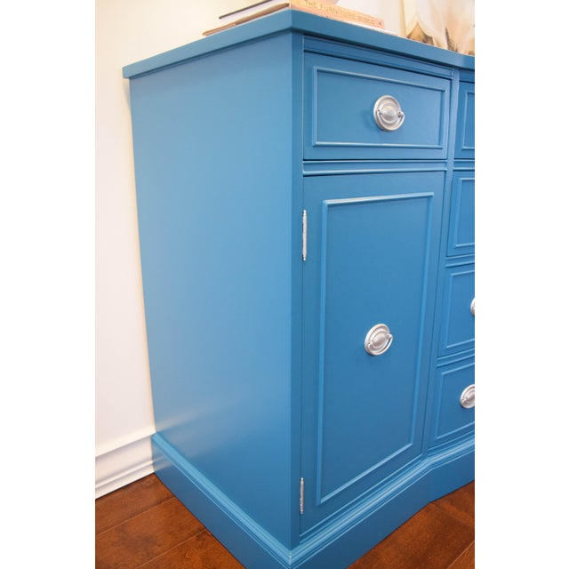 Teal Blue and Silver Sideboard For Sale In San Francisco - Image 6 of 11