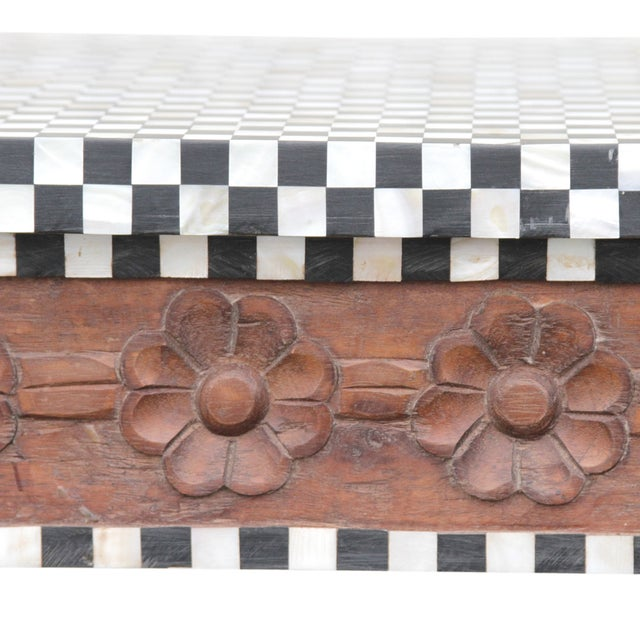 Vintage Bone-Inlay Checkered Console - Image 6 of 6