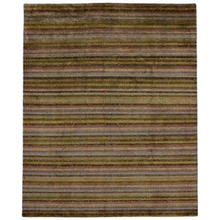Contemporary Indian Striped Area Rug - 7′11″ × 9′8″ For Sale