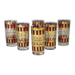Vintage Metallic Gold Cocktail Glasses - Set of 6