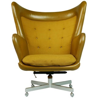 George Kasparian Leather Wingback Executive Chair, Circa 1960 For Sale