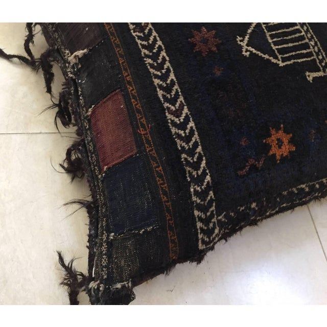 Late 19th Century Handmade Antique Collectible Afghan Baluch Saddle Bag Tribal Large Floor Cushion For Sale - Image 5 of 13