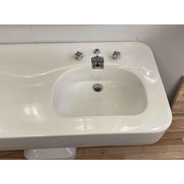 French Art Deco Double Basin White Pedestal Sink Chairish