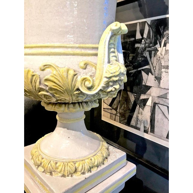 Ceramic Italian Glazed Terra Cotta Urn on Pedestal For Sale - Image 7 of 10