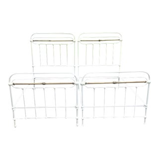 Antique Brass & Iron Twin Beds - A Pair For Sale