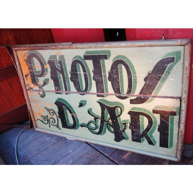"1920s Classic French Art Deco Sage Green Painted 2-Sided ""Photos D'Art"" Shop Sign For Sale - Image 13 of 13"