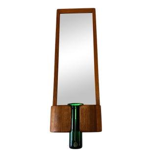 Danish Modern Randers Mobelfabrik Teak Mirror With Per Lutken for Holmegaard Glass Vase For Sale