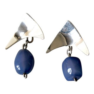 Mildred Ball Sterling Silver Blue Agate American Modernist Boomerang Earrings For Sale