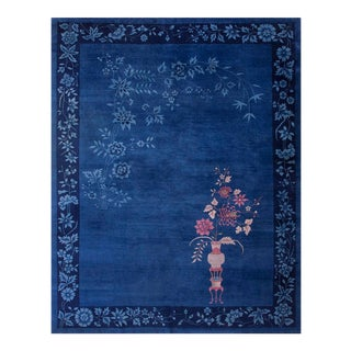 Chinese Art Deco Blue Rug-9′ × 11′8″ For Sale