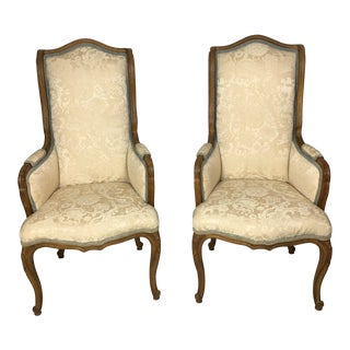 French Style Baker Wingback Side Chairs - a Pair For Sale
