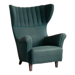 1950s Danish Classic High Wing Back Lounge Chair For Sale