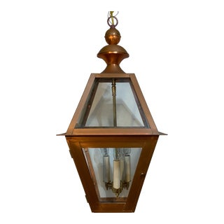 Four-Sided Hanging Copper Lantern For Sale